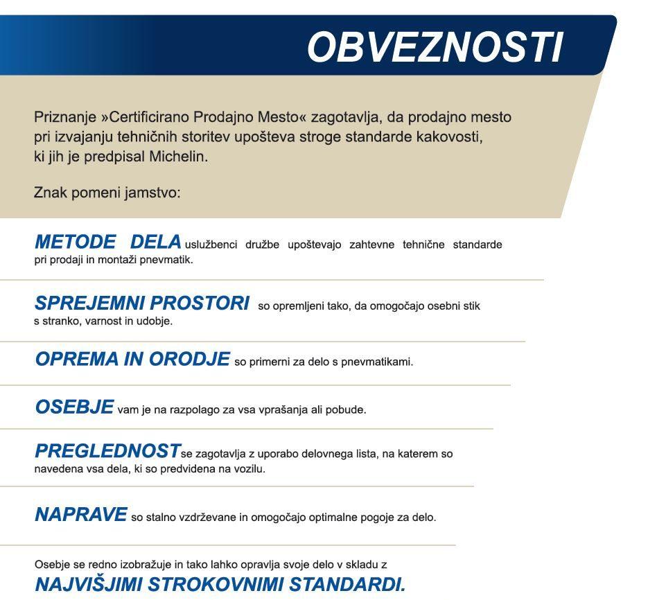 Certificirano prodajno mesto Michelin